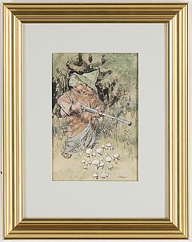 ROBERT HÖGFELDT, Tusch och akvarell, signerad.