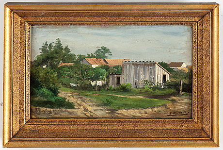 Unknown artist 19/20th century, oil on panel, indistinctly signed.