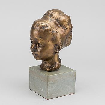 HELGE HÖGBOM, skulptur, signerad patinerad brons,