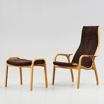 YNGVE EKSTRÖM, A 'Lamino' easy chair and stool by Yngve Ekström.