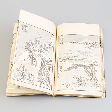 Four japanese woodblock printed books, 19th century.