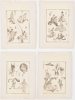 SHEETS from woodblock book, 24 pc, Japan, 19th century.
