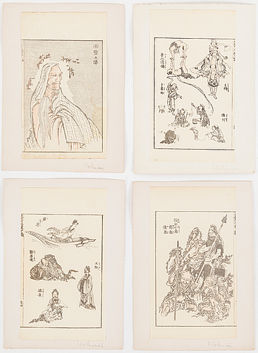 Sheets from woodblock book, 24 pc, japan, 19th century