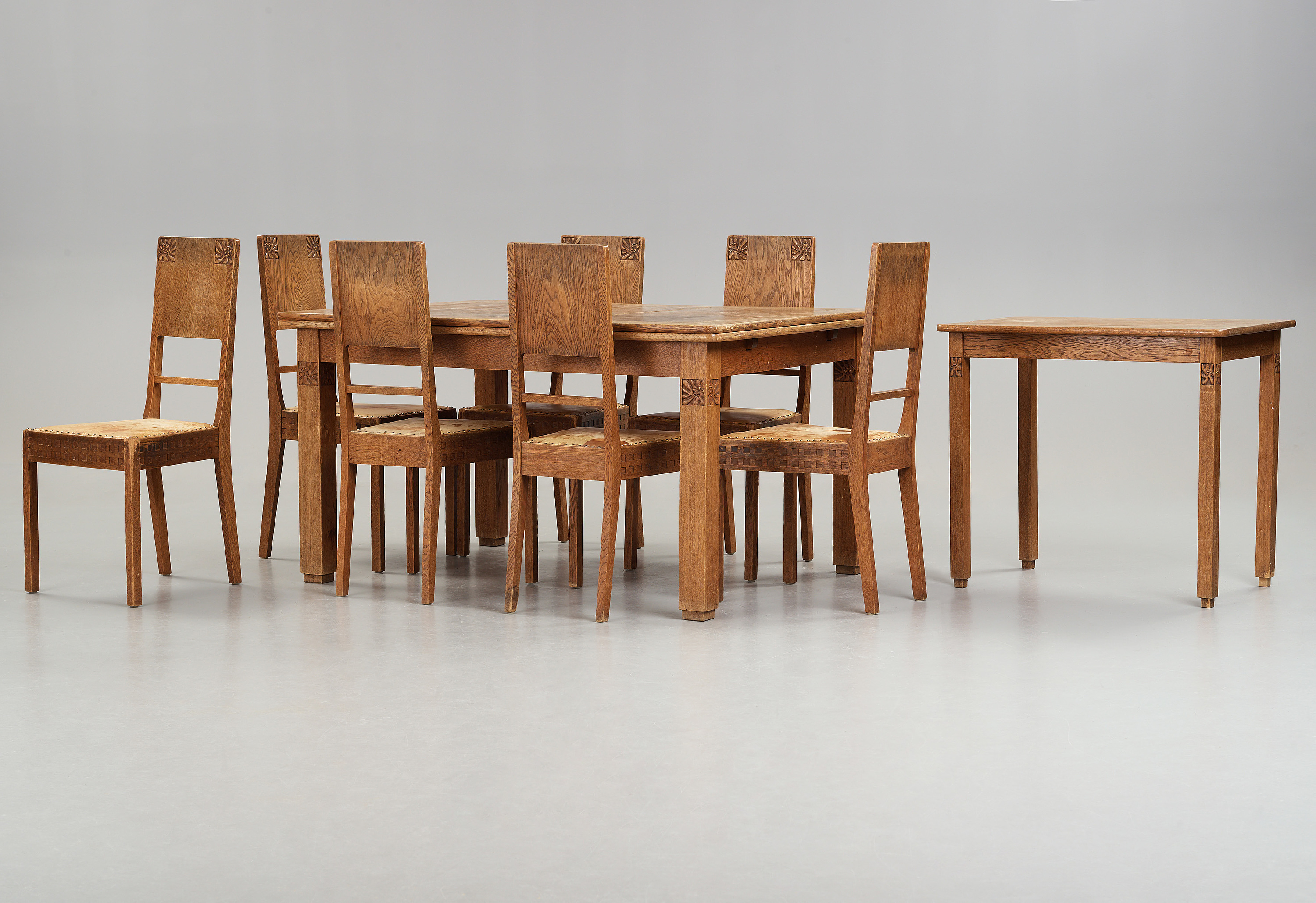 Terrific A Art Nouveau Oak Set With Dining Table Seven Chairs And A Download Free Architecture Designs Photstoregrimeyleaguecom