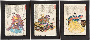 """UTAGAWA KUNIYOSHI (1797/98-1861), färg träsnitt, nio stycken. Japan, från serien: """"Meiko hyaku yuden""""."""