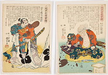 """UTAGAWA KUNIYOSHI (1797/98-1861), färg träsnitt, två stycken. Japan, från serien """"Taiheiki eiyuden""""."""