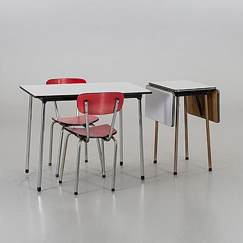 BORD, SIDOBORD samt 2 stolar, 1900-talets mitt,