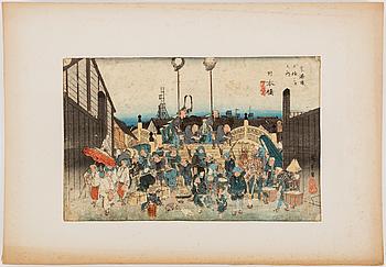 UTAGAWA HIROSHIGE (1797-1858), color woodblock print. Japan, 'Nihonbashi', from The Fifty-three stations of the Tokaido.