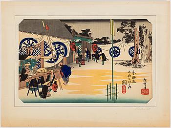 Three UTAGAWA HIROSHIGE (1797-1858) color woodblock prints. Japan, from 53 stations of the Tokaido, 19th century.