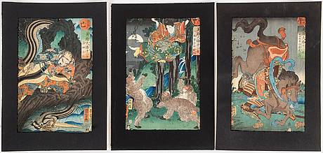 98 1861) color woodblock prints. japan, from 'japanese heroes for the twelve signs'