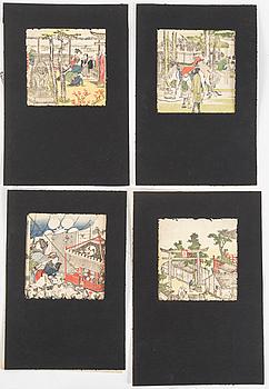 KATSUSHIKA HOKUSAI (1760–1849), blad ur Toto meisho ichiran, 18 stycken, färg träsnitt.
