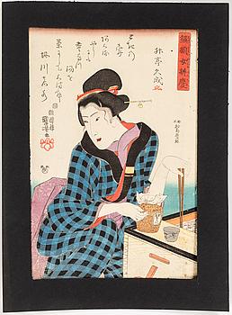 UTAGAWA KUNIYOSHI, två stycken, träsnitt. Japan, ur serien 'Series of Women as Benkei'. Utgiven av Iba-ya Kyûbei 1844.