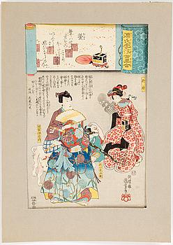 UTAGAWA KUNIYOSHI, trästnitt. Japan, ur serien Hotaru (No. 25 Fireflies).