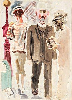 """354. GEORGE GROSZ, """"Strassenszene New York/Street scene New York""""."""