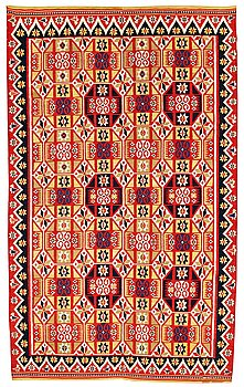 201. A BED COVER, double-interlocked tapestry (flat weave), ca 217 x 130,5 cm, Scania around 1830,