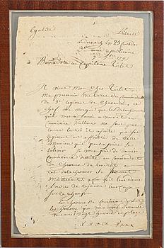 DOKUMENT UNDERTECKNAT AV JEAN BAPTIST BERNADOTTE  DATERAT 9-7 1795.