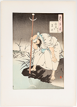 Three TSUKIOKA YOSHITOSHI (1839-1892) color woodblock prints. Japan, Tsuki hyakushi (100 Aspects of the Moon).