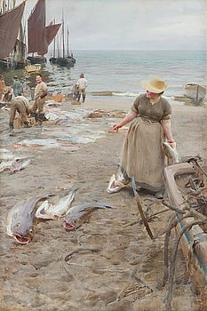 "336. Anders Zorn, ""On the Beach St Ives Cornwall England""."