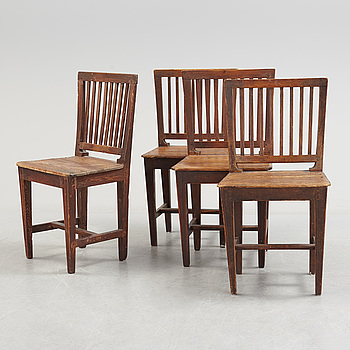 A set of four circa 1900 chairs.