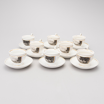 A set of eight porcelain coffee cups from the first half of the 19th Century.