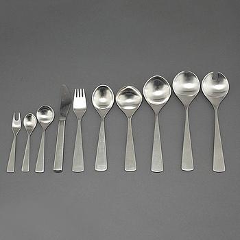"""TIAS ECKHOFF, bestickservis, 32 delar, rostfritt stål, """"Maya"""", Norsk Stålpress A/S, Bergen, i produktion från ca 1960."""