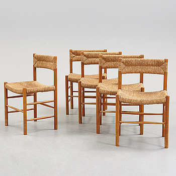A set of five chairs attributed to Charlotte Perriand, second half of the 20th century.