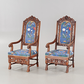 A pair of armchairs from the early 20th century.