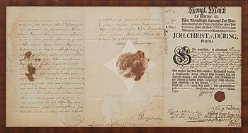 DOKUMENT UNDERTECKNAT AV JOH. CHRIST. VON  DÜRING  SAMT ADOLF FREDRIKS NAMNTECKNING.  DATERING STOCKHOLM DEN 1 SEP 1755.