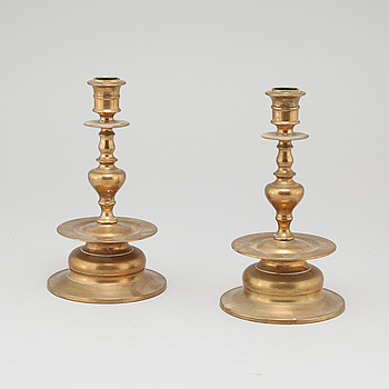 A pair of brass baroque style candlesticks from Skultuna, model No 58, 20th century.
