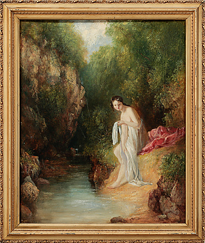 UNKNOWN ARTIST, oil on paper, signed D.W.?, from aorund year 1900.