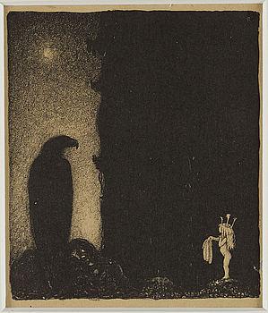 JOHN BAUER, litografi, 1915, numrerad 4, osignerad.