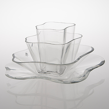 """ALVAR AALTO, glasskulptur, 4 delar """"Aalto-blomman"""", 1900-talets senare hälft."""