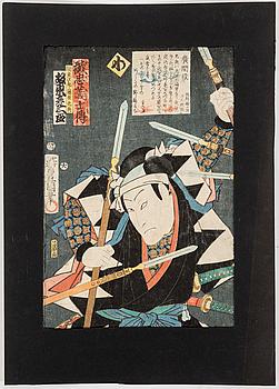 UTAGAWA KUNISADA, även kallad Toyokuni III (1786-1864). färgträsnitt, tre stycken. Japan.