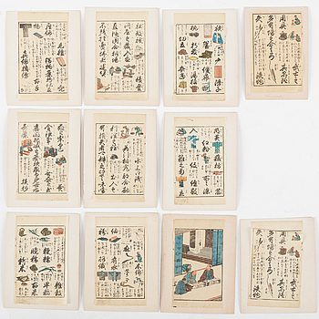 SHEETS from woodblock book, 17 pc, Japan, 19th century.