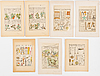 Sheets from woodblock book, 17 pc, japan, 19th century