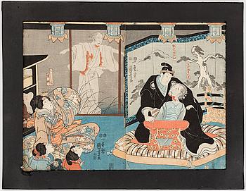 UTAGAWA KUNIYOSHI (1797/98-1861), color woodblock prints, diptych. Japan, Higashiyama Sakura sôshi, 1851-53.