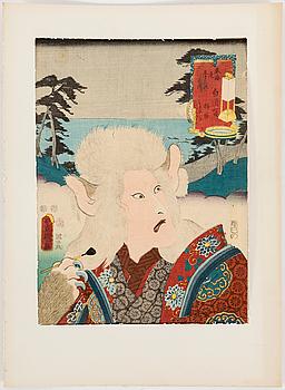UTAGAWA KUNISADA, även kallad Toyokuni III (1786-1864) samt TOYOKUNI II (1777-1835) färgträsnitt, tre stycken. Japan.