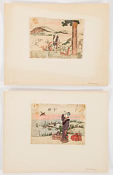 KATSUSHIKA HOKUSAI (1760–1849), blad ur böcker, sju stycken. Japan.