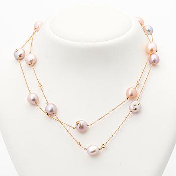 HALSSMYCKE, odlade pärlor, briljantslipade diamanter, 18K guld. Françoise Albasini, Cannes.