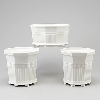 """PRINS EUGEN, A set of 2+1 Swedish """"Waldemarsudde"""" porcelain planters the model designed by Prince Eugen in 1915."""