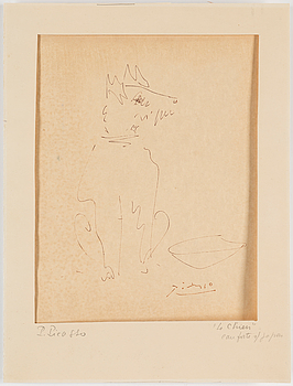 PABLO PICASSO After, PABLO PICASSO, AFTER, dry point etching, stamped signature.