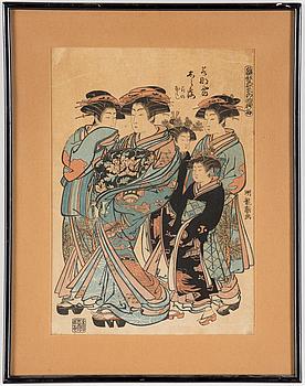 "Two KORYUSAI ISODA (1735-1790) color woodblock prints. Japan, from  ""Hinagata wakana no hatsu moyo"", 19th century."