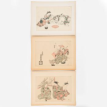 Three OKOMURA MASANOBU (1686-1764) colour woodblock prints, Japan, 19th century.