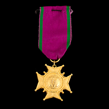 Sign of the Swedish grand order of the Amaranth on purple and green ribbon.