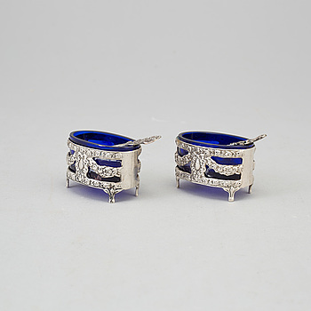 a pair of silver and glass salt-cellars, Gewe 1966.