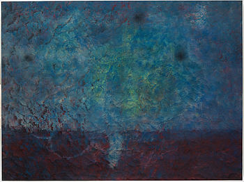 KARL NORIN, signed KN on verso. Executed in 2014. Rug, paint, glue on aluminum strecher.