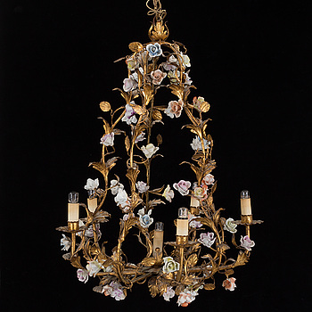 A 20th century porcelain and metal chandelier.