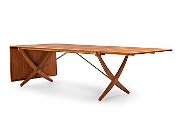 "265. HANS J WEGNER, a teak, beech and brass dining table by Andreas Tuck, ""AT-314"", Denmark 1950-60's."