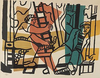 """FERNAND LÉGER, FERNAND LÉGER, """"Les Contructeurs"""", a litograph in colors, signed in ink and numbered 184/260."""