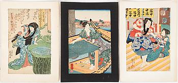 UTAGAWA KUNIYOSHI (1797/98-1861), färg träsnitt, tre stycken. Japan.